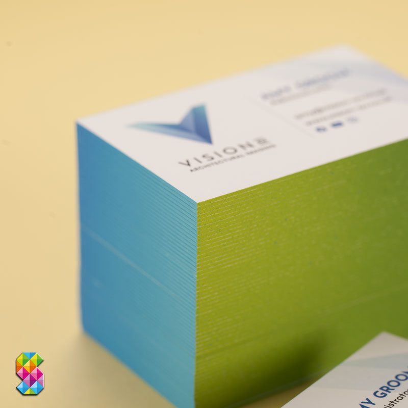 luxury business cards with gradient painted edges